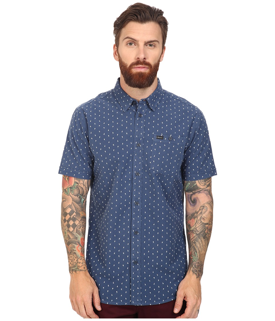 RVCA - Toned Short Sleeve Woven (Dark Denim) Men's Clothing
