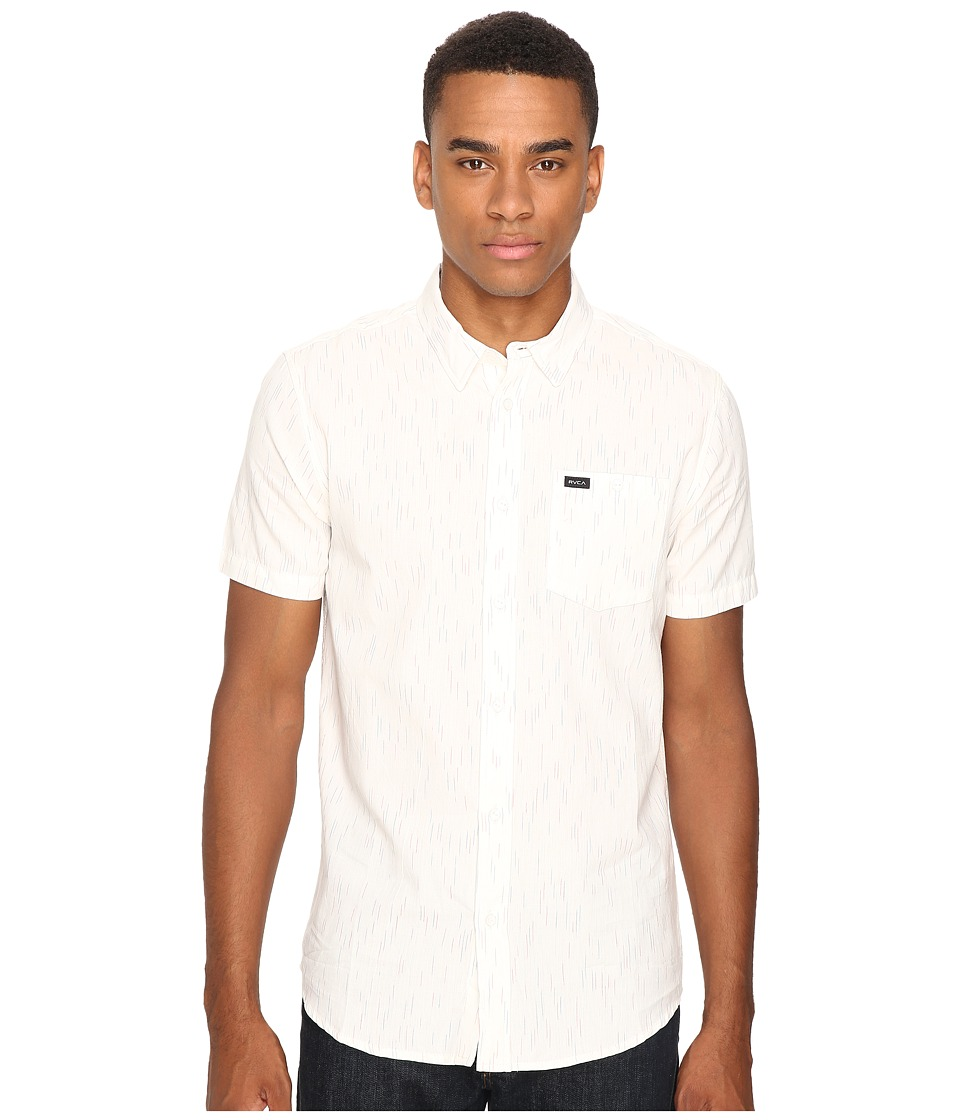 RVCA - Descent Short Sleeve Woven (Vintage White) Men's Clothing