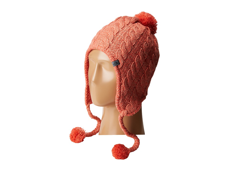 The North Face - Fuzzy Earflap Beanie (Spiced Coral/Rose Dawn) Beanies