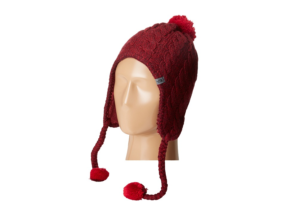 The North Face - Fuzzy Earflap Beanie (Deep Garnet Red/Biking Red) Beanies