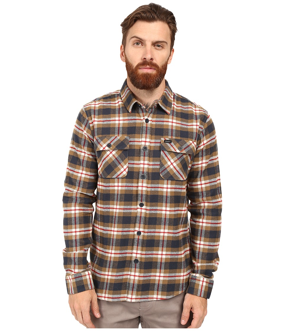 RVCA - That'll Work Flannel Long Sleeve (Bark) Men's Clothing