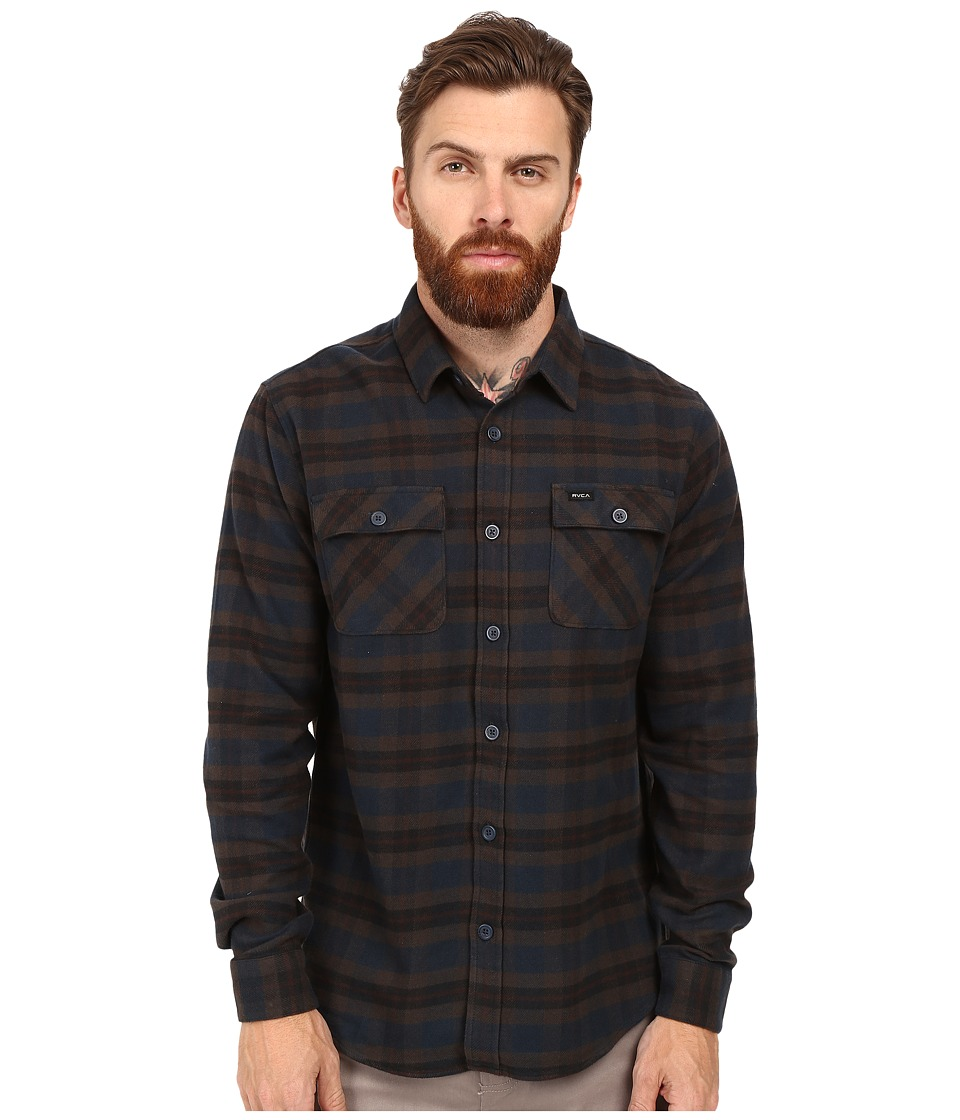 RVCA - That'll Work Flannel Long Sleeve (Carbon) Men's Clothing