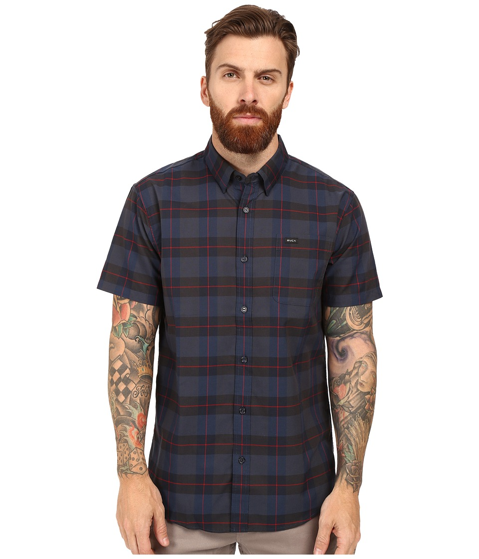 RVCA - Akasa Short Sleeve Woven (Carbon) Men's Clothing