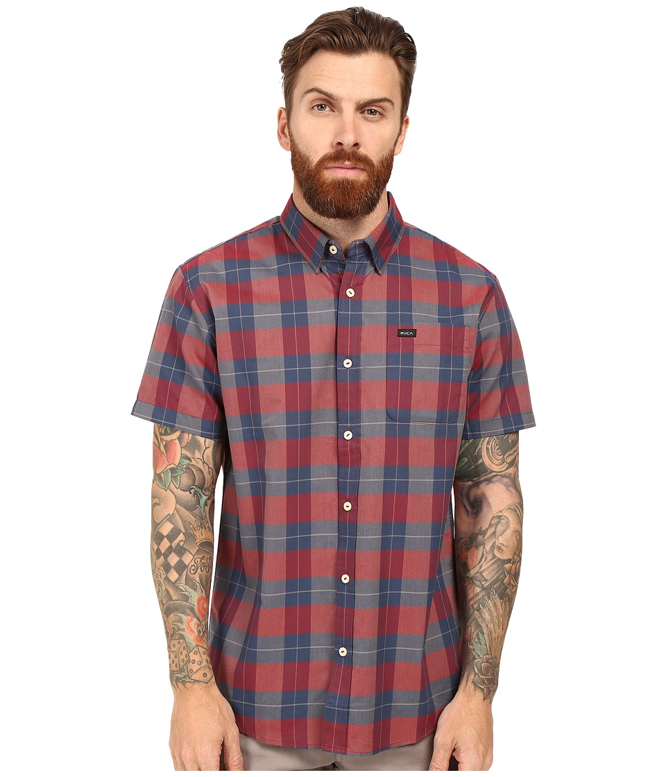 RVCA - Akasa Short Sleeve Woven (Pompei Red) Men's Clothing