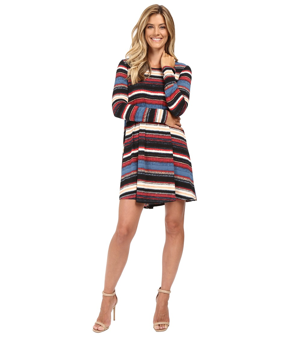 Karen Kane - Multi-Stripe Maggie Trapeze Dress (Print) Women's Dress
