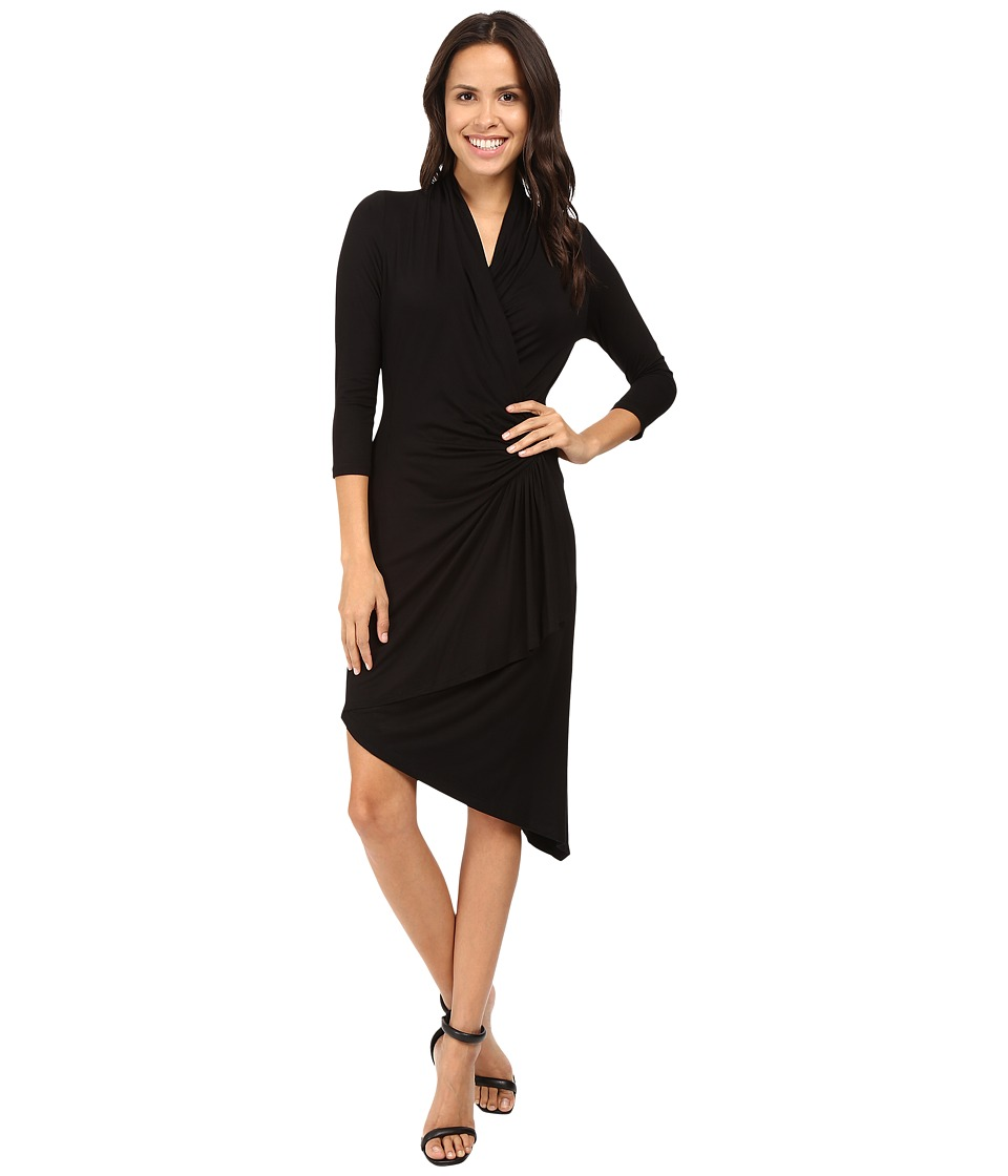 Karen Kane Asymmetrical Cascade Wrap Dress (Black) Women