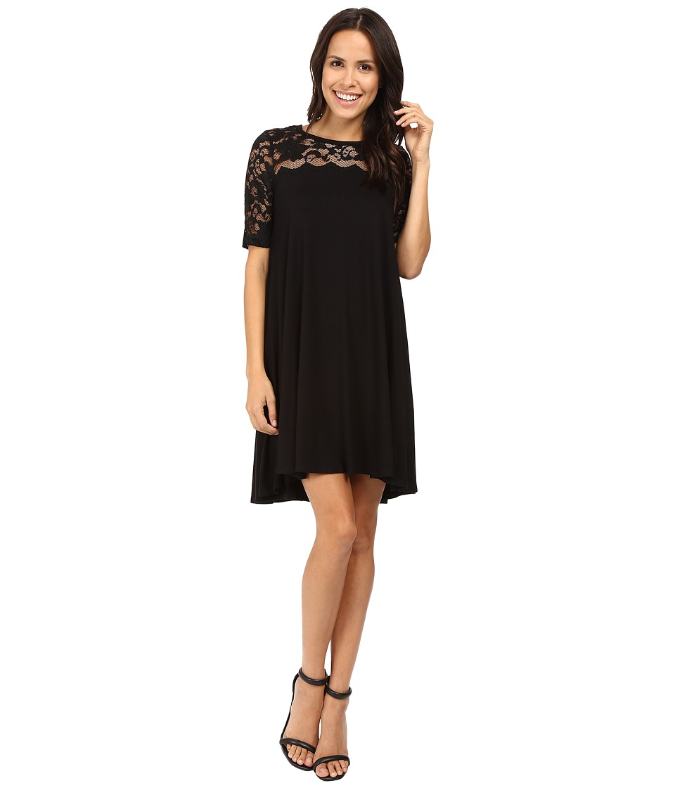 Karen Kane - Pencil Sleeve Lace Maggie Trapeze Dress (Black) Women's Dress
