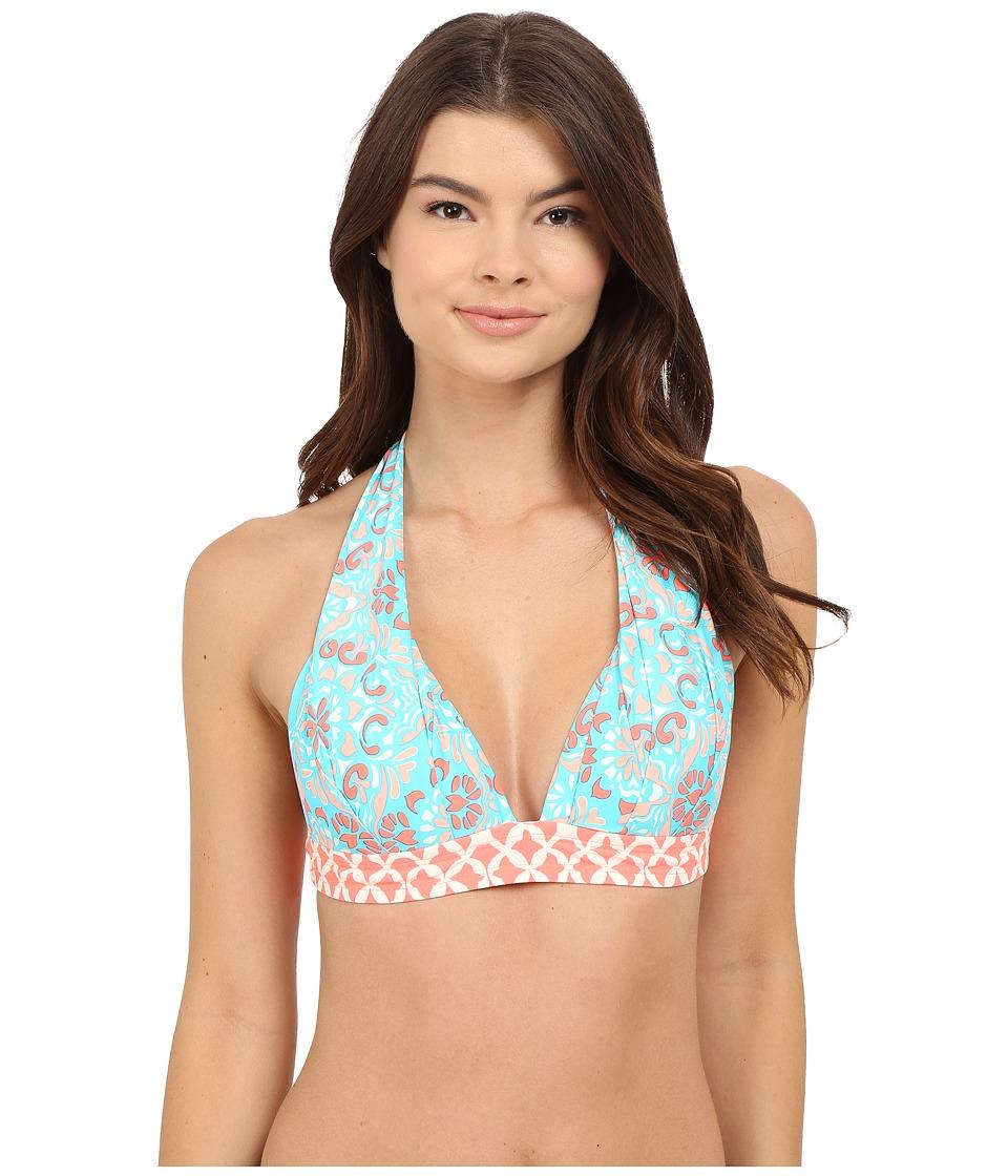 Athena - Mosaic Tile Halter Top (Aqua) Women's Swimwear
