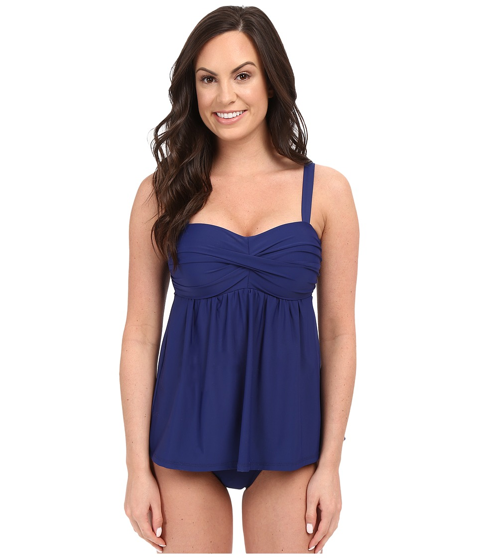 Athena - Cabana Solids Soft Cup Faux-kini One-Piece (Navy) Women's Swimsuits One Piece