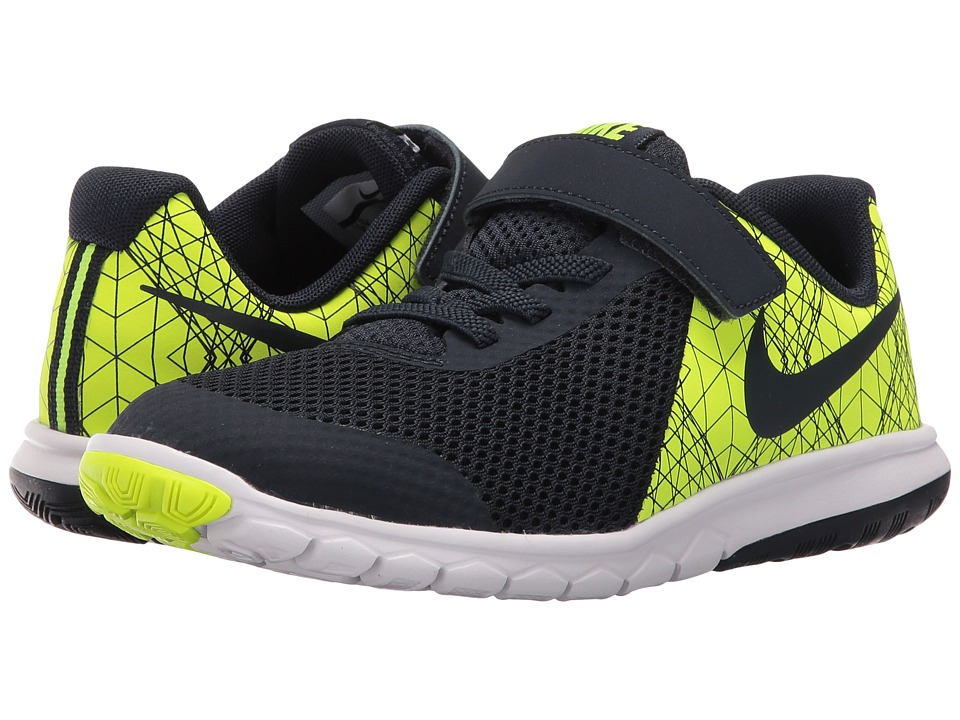 Nike Kids - Flex Experience 5 Print (Little Kid) (Volt/White/Black/Obsidian) Boys Shoes