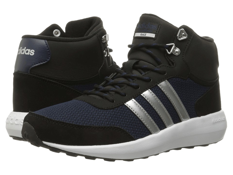 adidas - Cloudfoam Race Winter Mid (Core Black/Silver Metallic/Collegiate Navy) Women's Running Shoes
