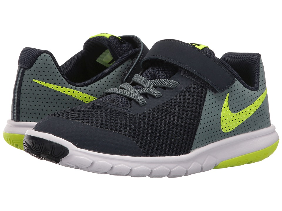 Nike Kids - Flex Experience 5 (Little Kid) (Obsidian/Hasta/White/Volt) Boys Shoes