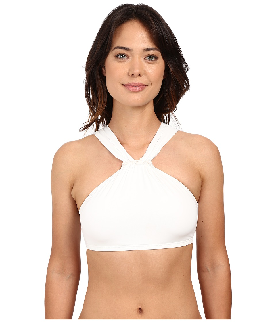 MICHAEL Michael Kors - Bohemian Rhapsody Beaded High Neck Bra Top w/ Removable Soft Cups (White) Women's Swimwear
