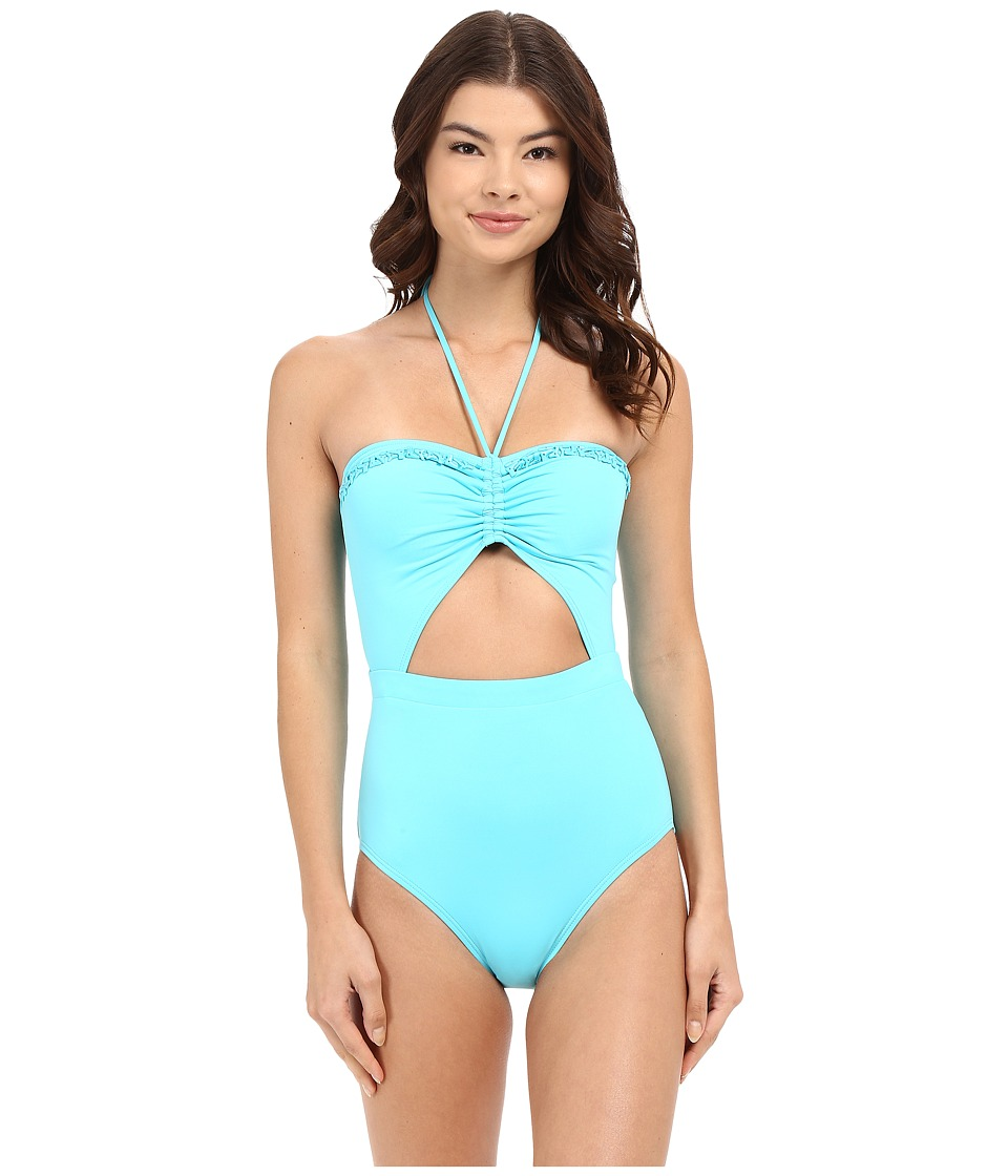 MICHAEL Michael Kors - Bohemian Rhapsody Beaded Halter Maillot One-Piece (Turquoise) Women's Swimsuits One Piece