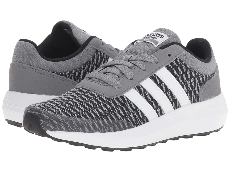 adidas Kids Cloudfoam Race (Little Kid/Big Kid) (Black/White/Grey) Kids Shoes