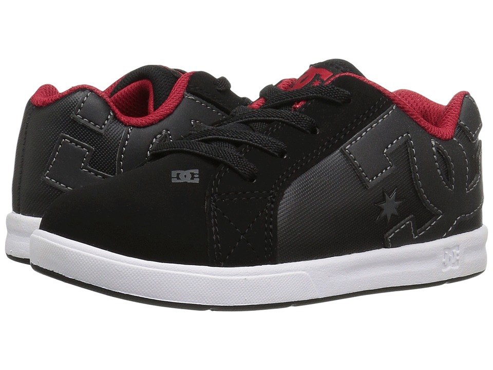 DC Kids - Court Graffik Elastic UL (Toddler) (Black/Red/White) Boys Shoes
