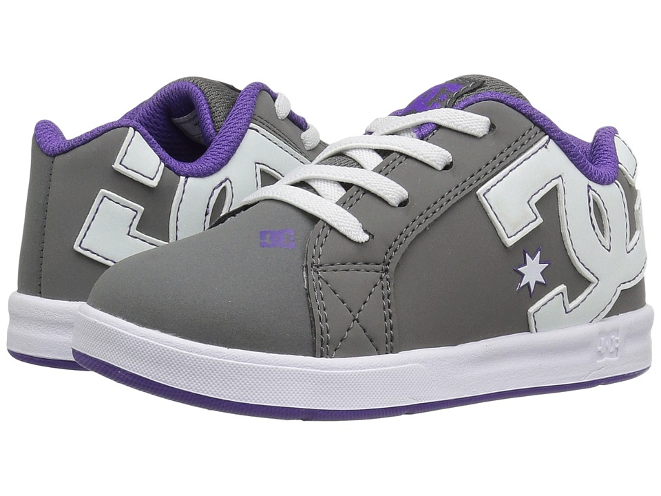 DC Kids - Court Graffik Elastic UL (Toddler) (Grey/White) Girls Shoes