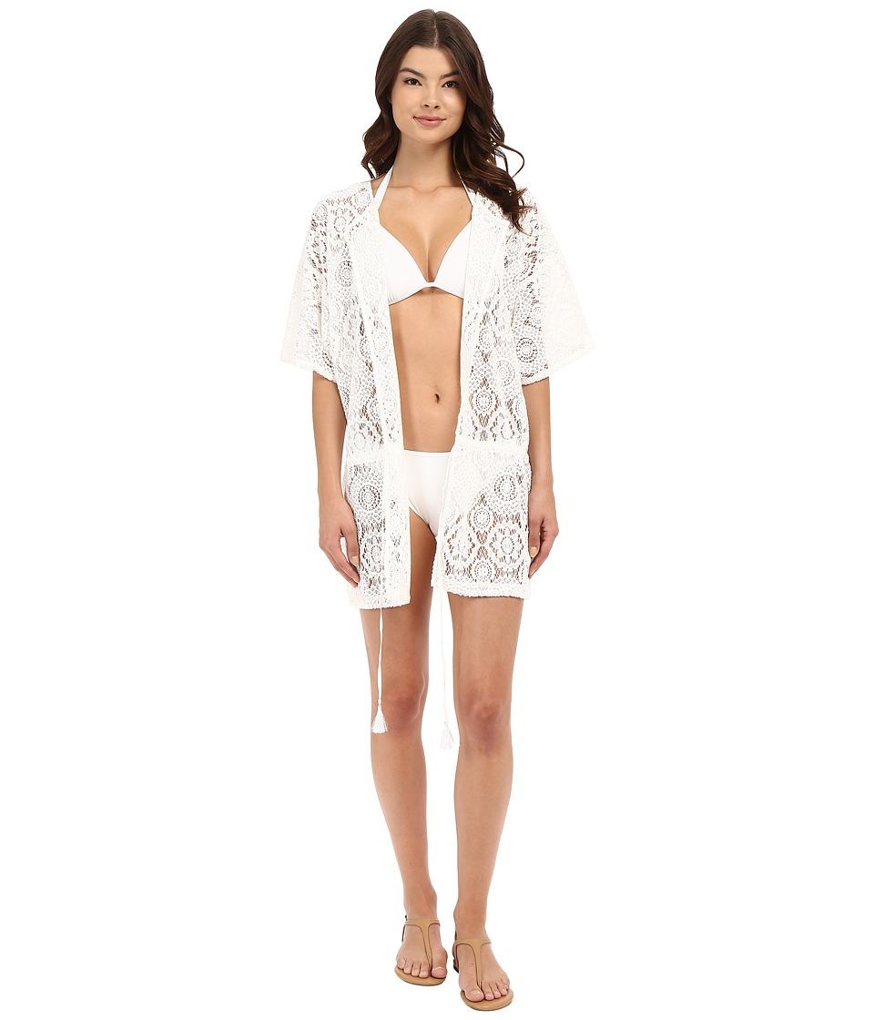 MICHAEL Michael Kors - La Vie Boheme Crochet Tunic Cover-Up (White) Women's Swimwear