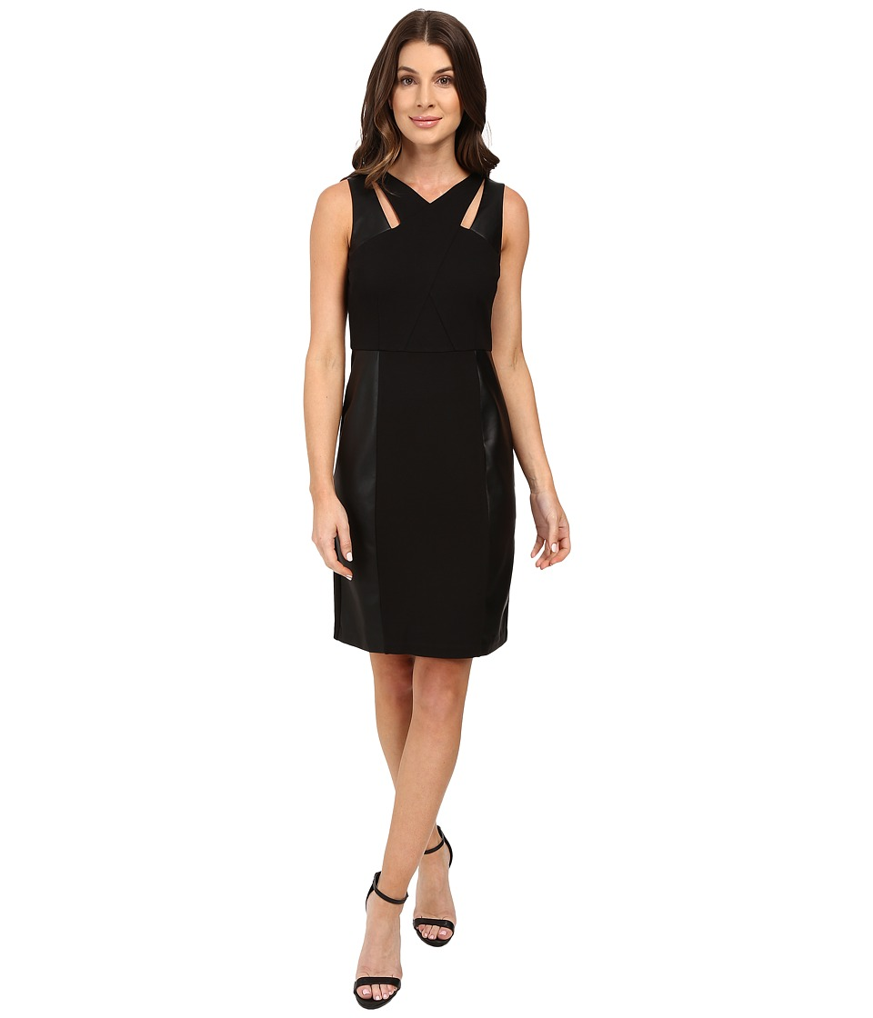 Laundry by Shelli Segal - Sheath Dress w/ Cut Outs Faux Leather (Black) Women's Dress