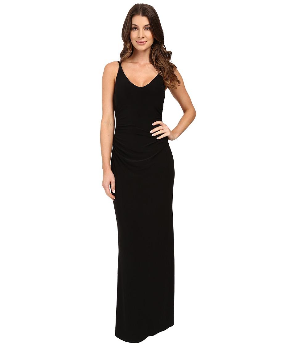 Laundry by Shelli Segal - V-Neck Spaghetti Straps w/ Open Back Gown (Black) Women's Dress