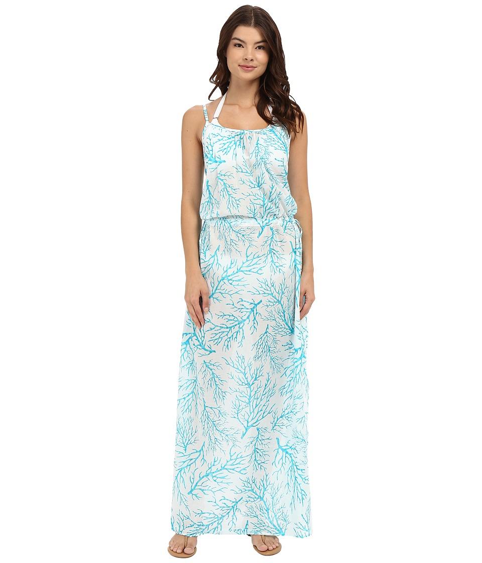 MICHAEL Michael Kors - Lantana Long Dress Cover-Up (Turquoise) Women's Swimwear
