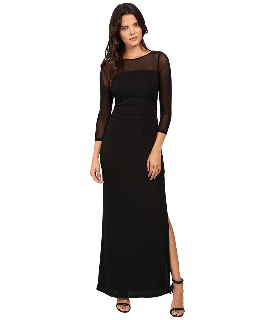 Laundry by Shelli Segal - Matte Jersey Gown w/ Mesh Sleeves (Black) Women's Dress