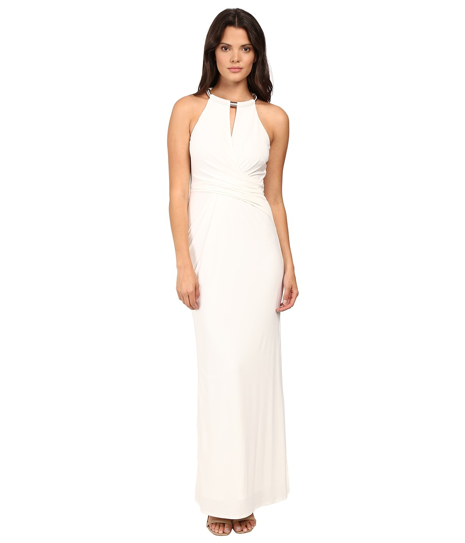 Laundry by Shelli Segal Matte Jersey Gown w/ Necklace Detail (Warm White) Women