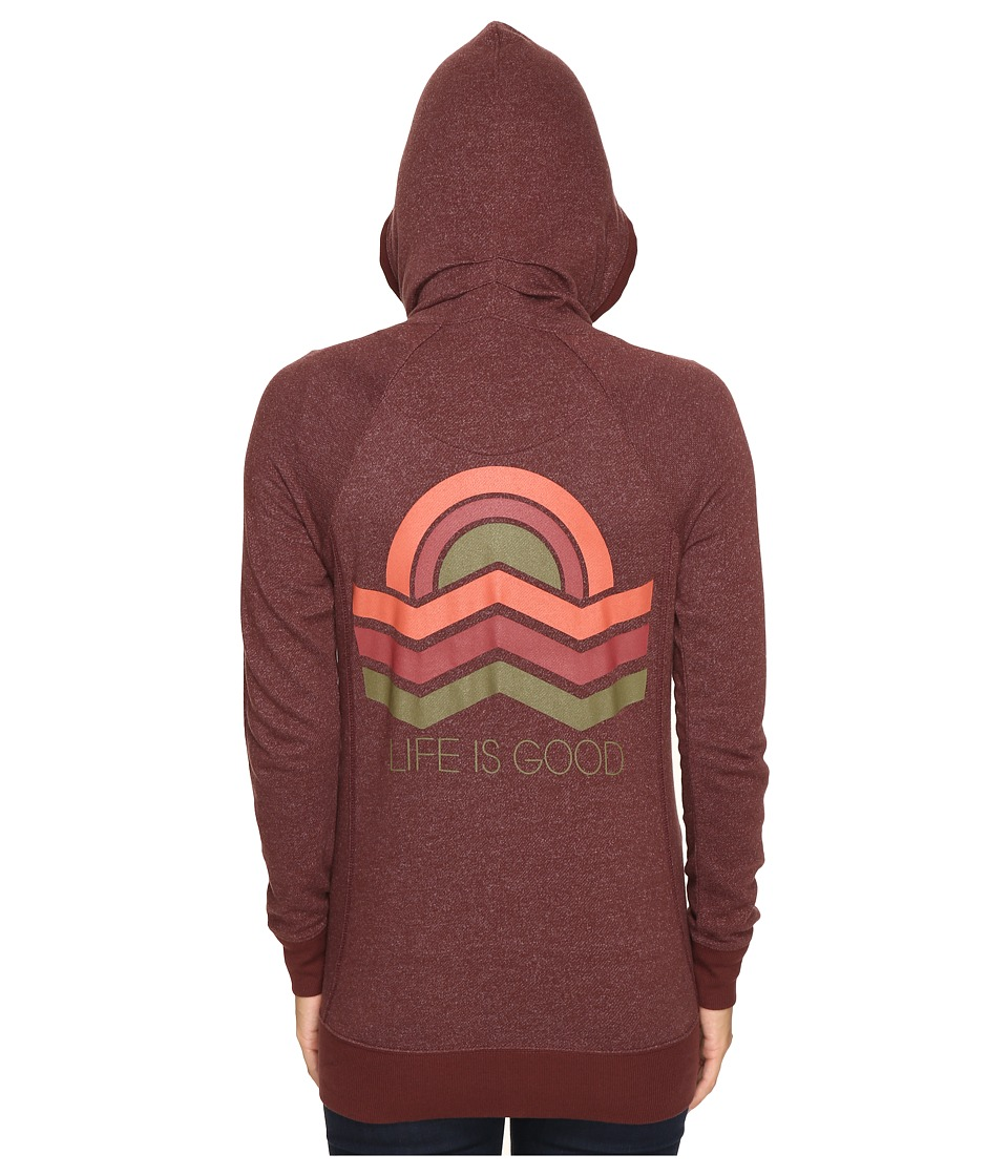 Life is good - Geometric Sunset Zipped Funnel Neck Topper (Earthy Brown) Women's Sweater