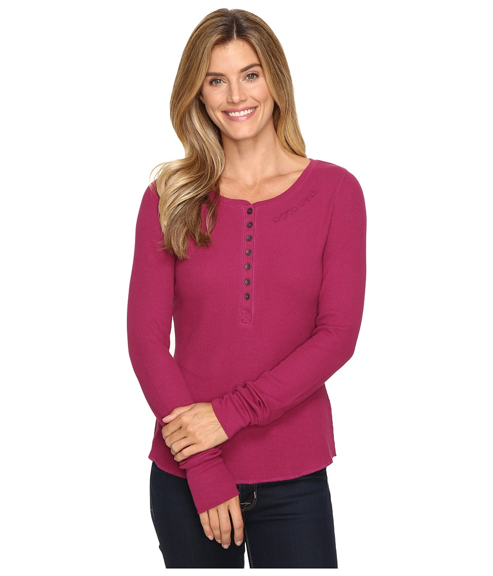 Life is Good - Good Vibes Long Sleeve Waffle Henley (Wild Plum) Women's Long Sleeve Pullover
