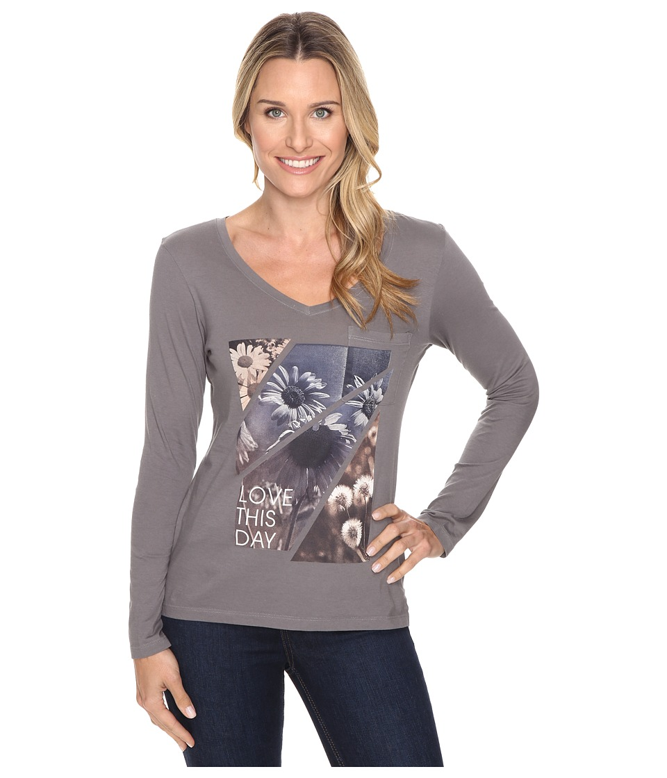 Life is good - Love This Day Flower Photo Long Sleeve Pocket Tee (Slate Gray) Women's Long Sleeve Pullover