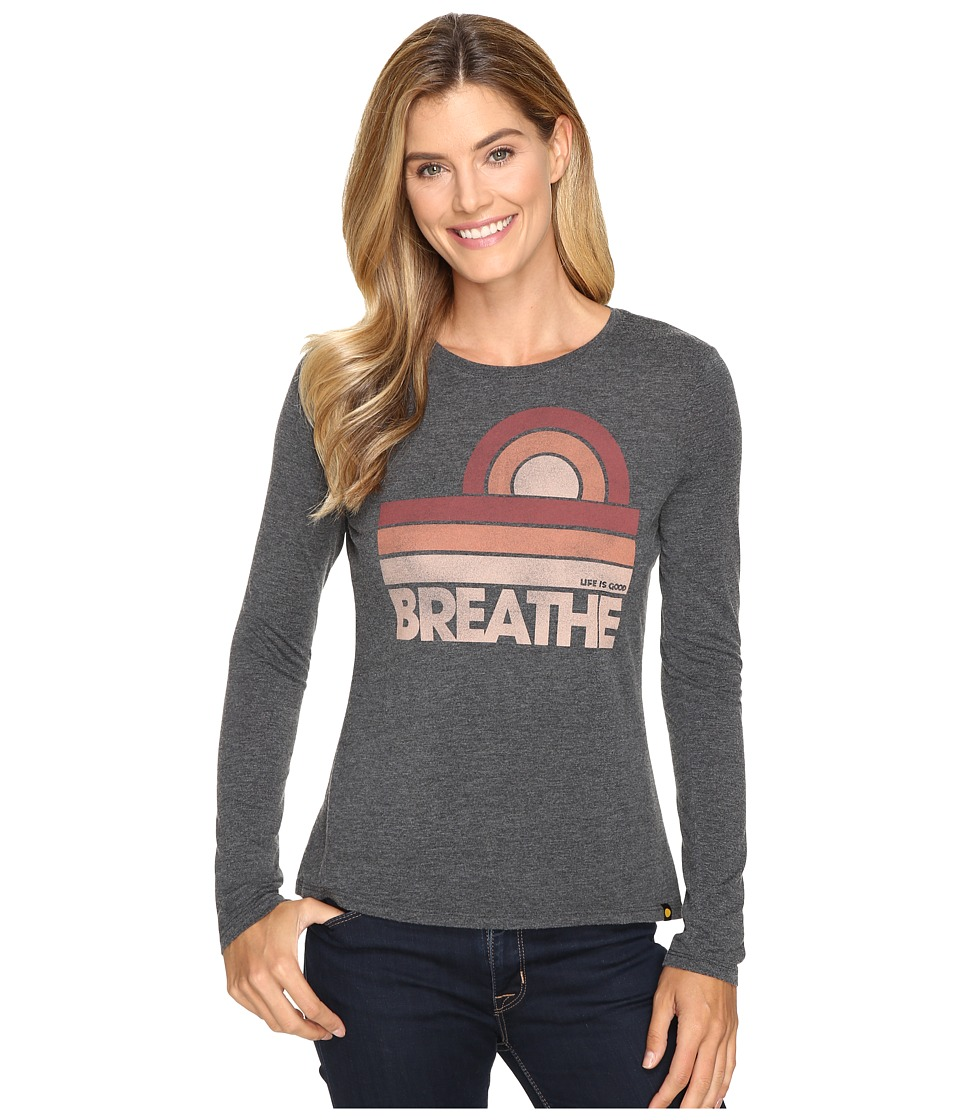 Life is good - Breathe Sun Stripes Long Sleeve Sweet Tee (Night Black) Women's Long Sleeve Pullover