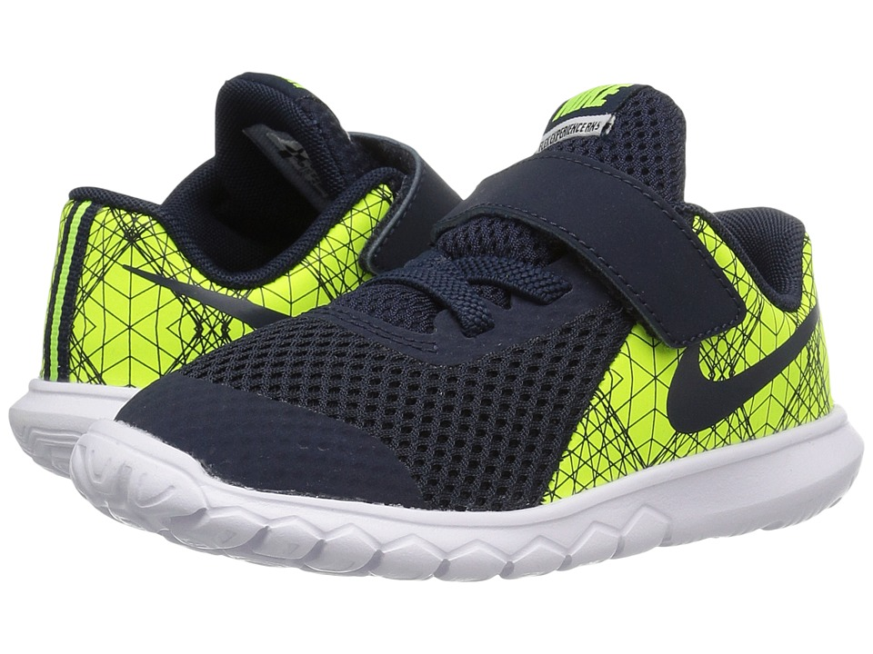 Nike Kids - Flex Experience 5 Print (Infant/Toddler) (Volt/White/Black/Obsidian) Boys Shoes