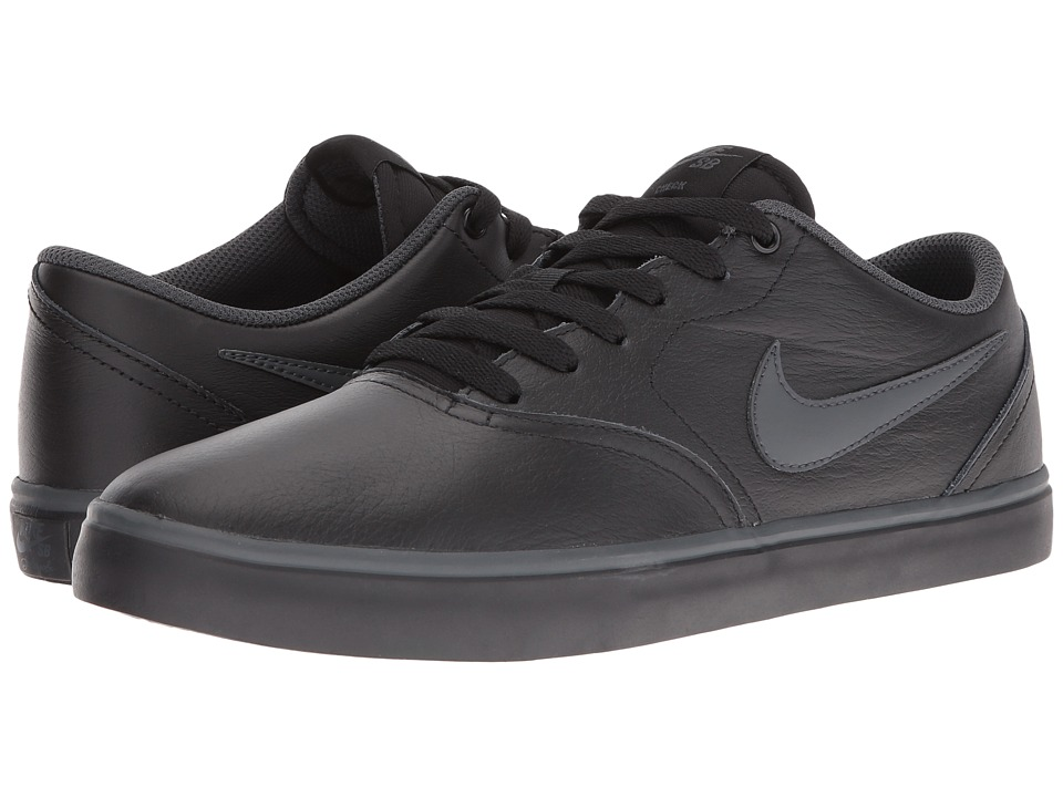 Nike SB - Check Solarsoft Premium (Black Leather) Men's Skate Shoes