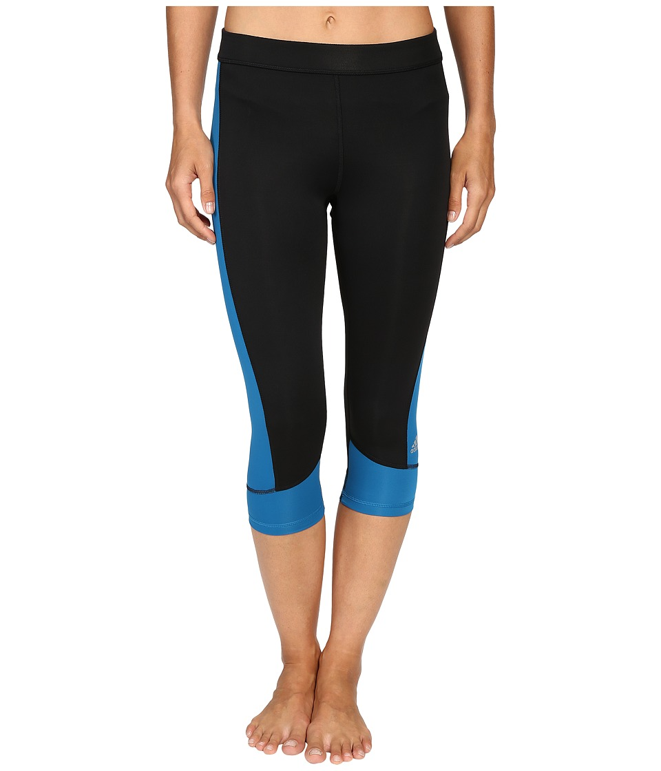 adidas Techfit Capris (Black/Unity Blue) Women