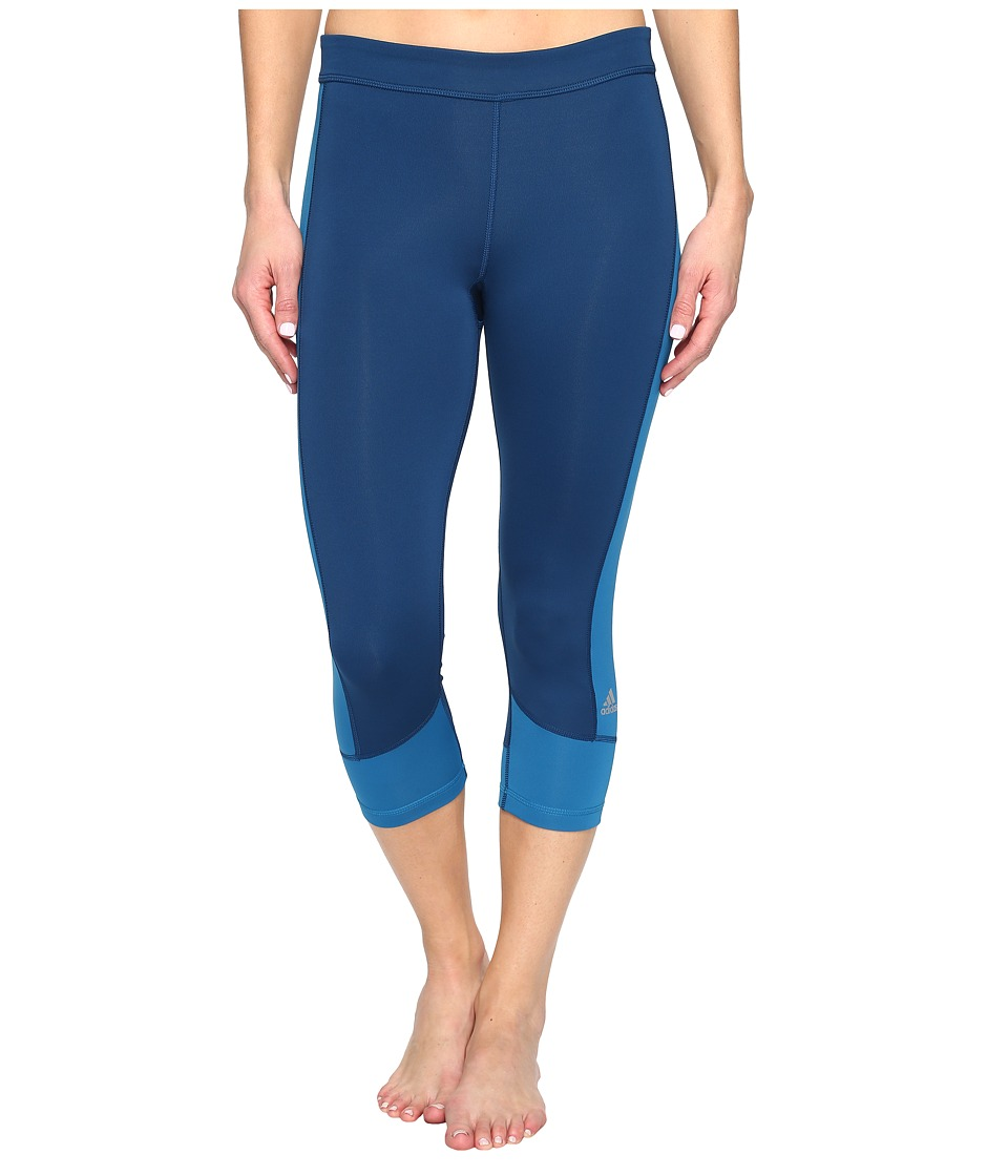 adidas - Techfit Capris (Tech Steel/Unity Blue) Women's Capri