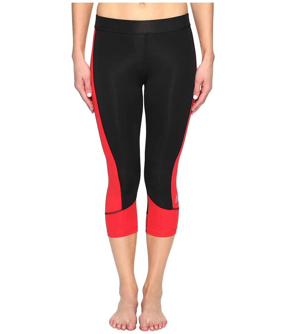 adidas - Techfit Capris (Black/Ray Red) Women's Capri