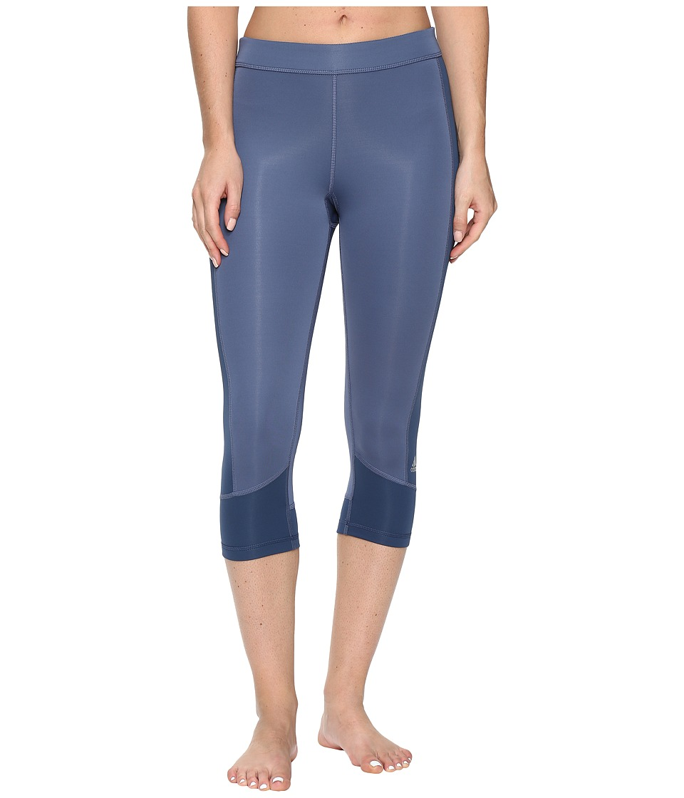 adidas - Techfit Capris (Tech Ink/Mineral Blue) Women's Capri