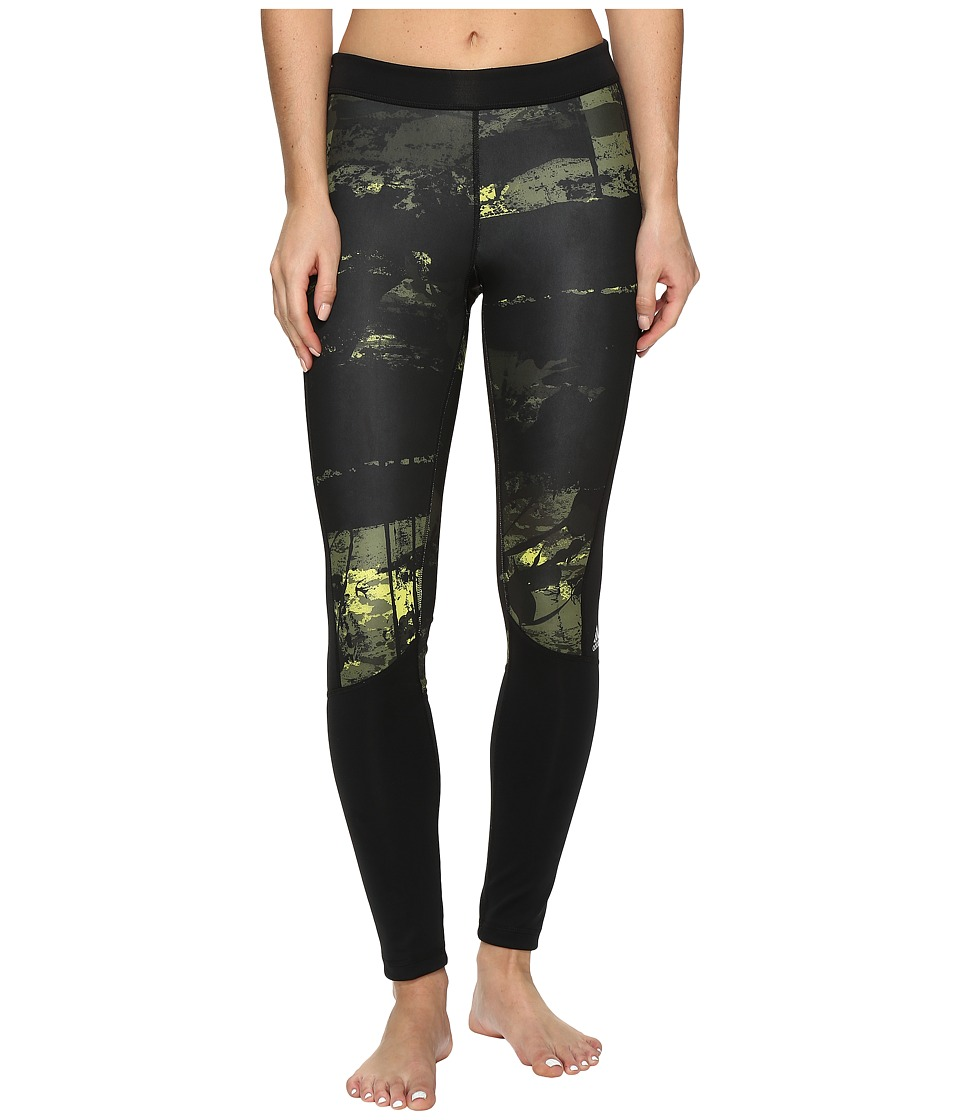 adidas - Techfit Long Tights Elemental Raw Print (Shock Slime/Print/Matte Silver) Women's Casual Pants