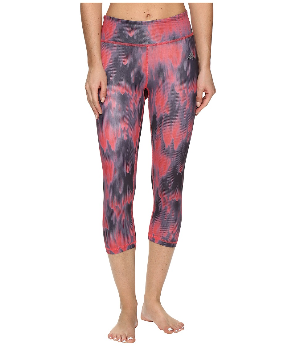 adidas - Clima Studio Mid-Rise 3/4 Tights Northern Lights Print (Shock Red/Print/Matte Silver) Women's Casual Pants