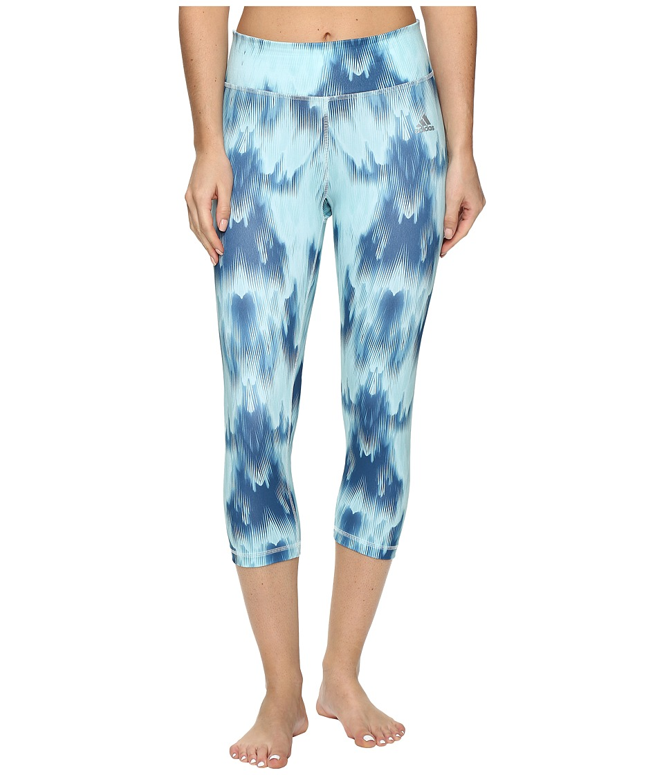 adidas - Clima Studio Mid-Rise 3/4 Tights Northern Lights Print (Ice Mint F16/Print/Matte Silver) Women's Casual Pants