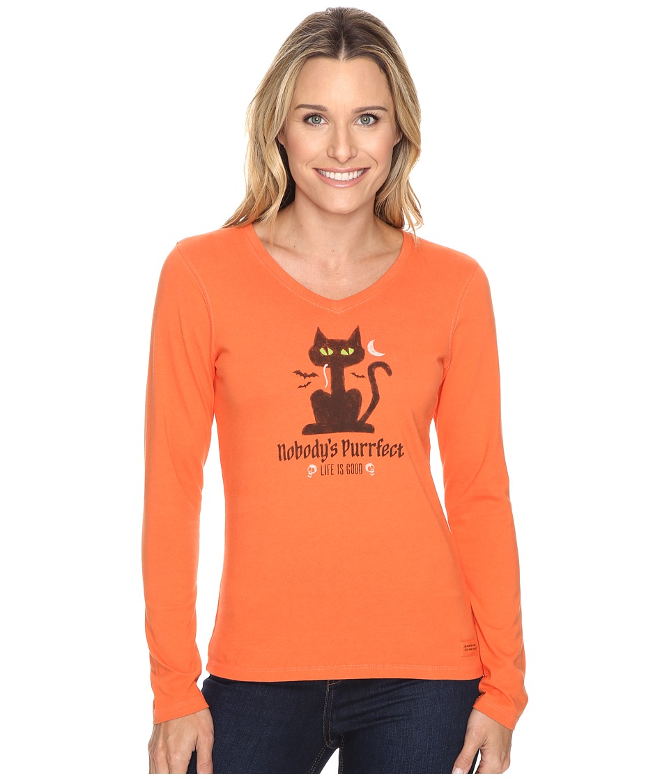 Life is good - Nobody's Purrfect Cat Long Sleeve Crusher Vee (Coral Orange) Women's Long Sleeve Pullover