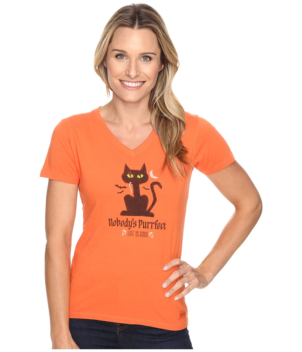 Life is good - Nobody's Purrfect Cat Crusher Vee (Coral Orange) Women's T Shirt