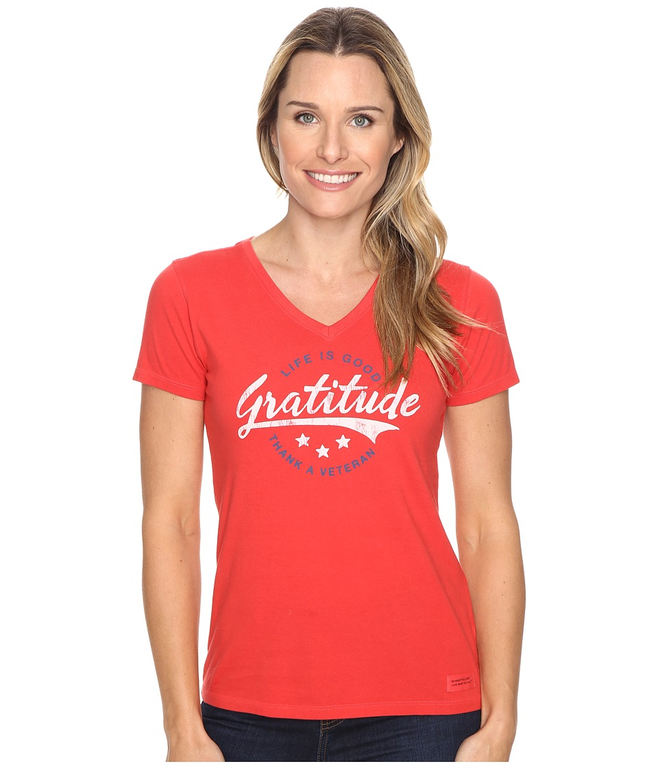 Life is good - Veteran Gratitude Script Crusher Vee (Simply Red) Women's T Shirt