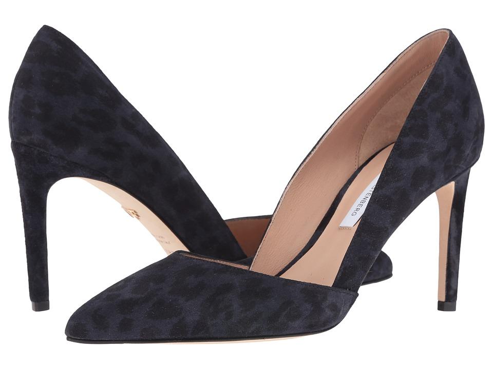 Diane von Furstenberg Lille Dark Navy-Leopard Printed Suede Womens Shoes