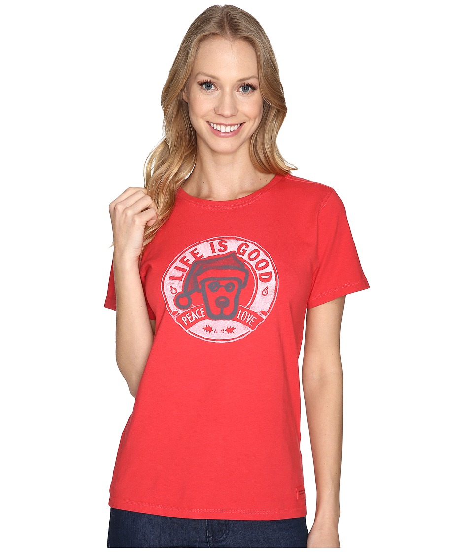 Life is Good Rocket Santa Peace Love Crusher Tee (Simply Red) Women