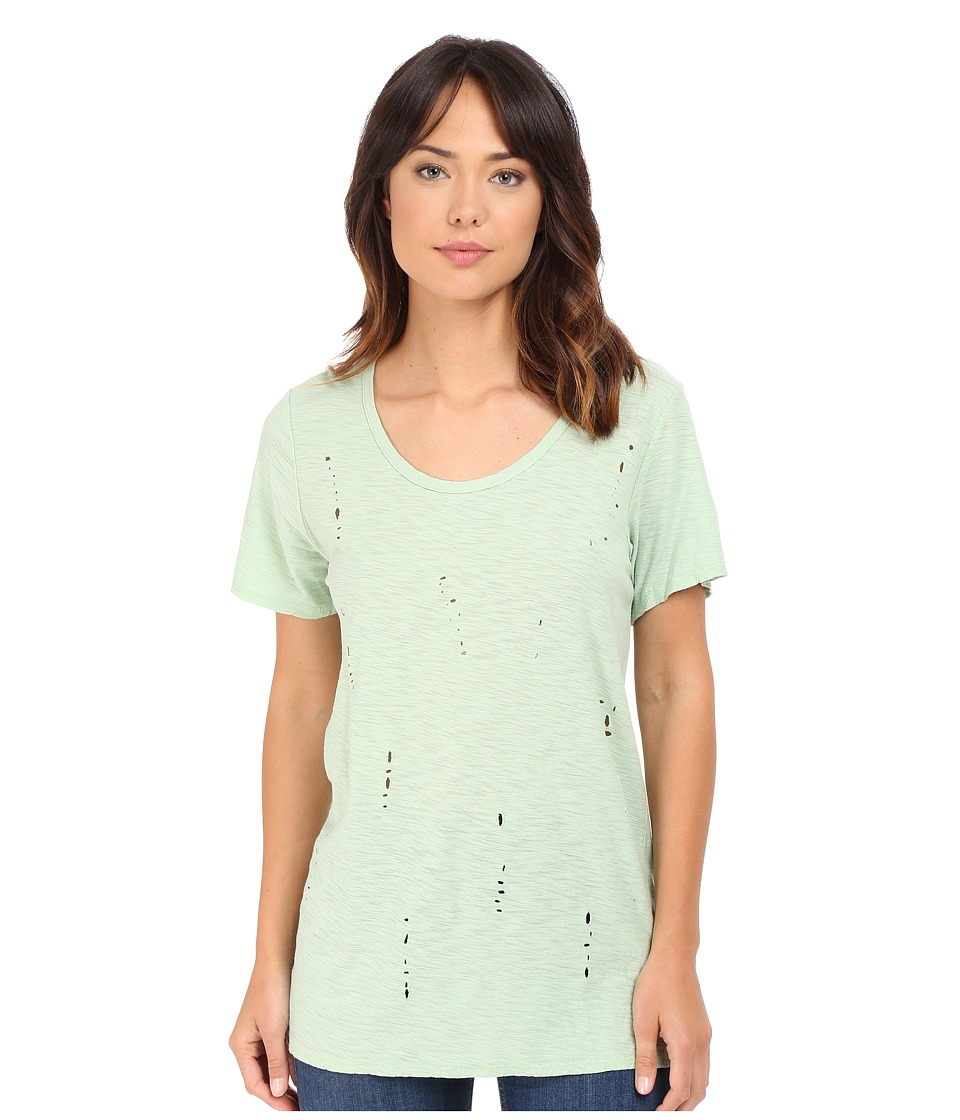Culture Phit - Laurence Laser Cut Short Sleeve Top (Dusty Green) Women's Clothing