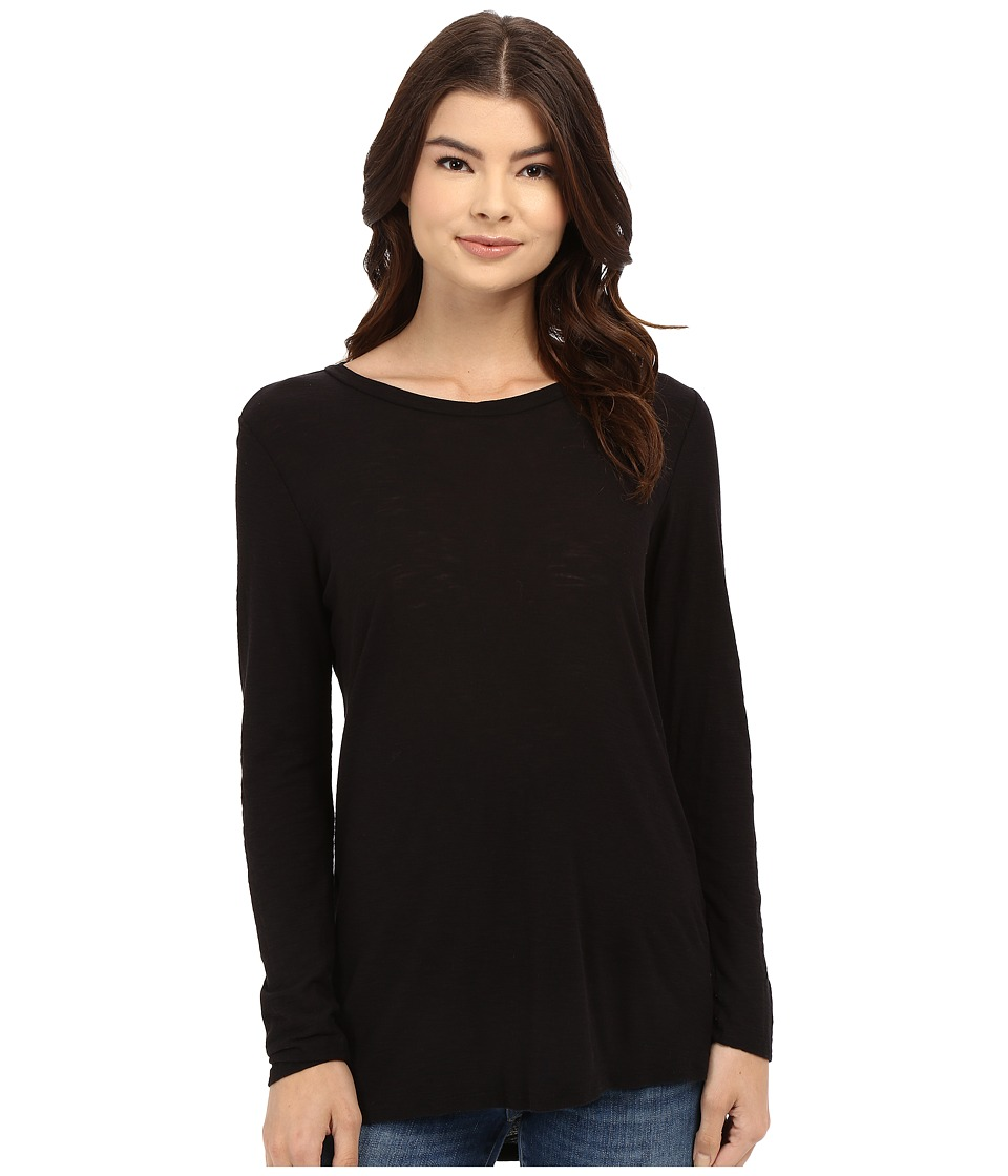 Culture Phit - Flavie Round Neck High-Low Top (Black) Women's Long Sleeve Pullover