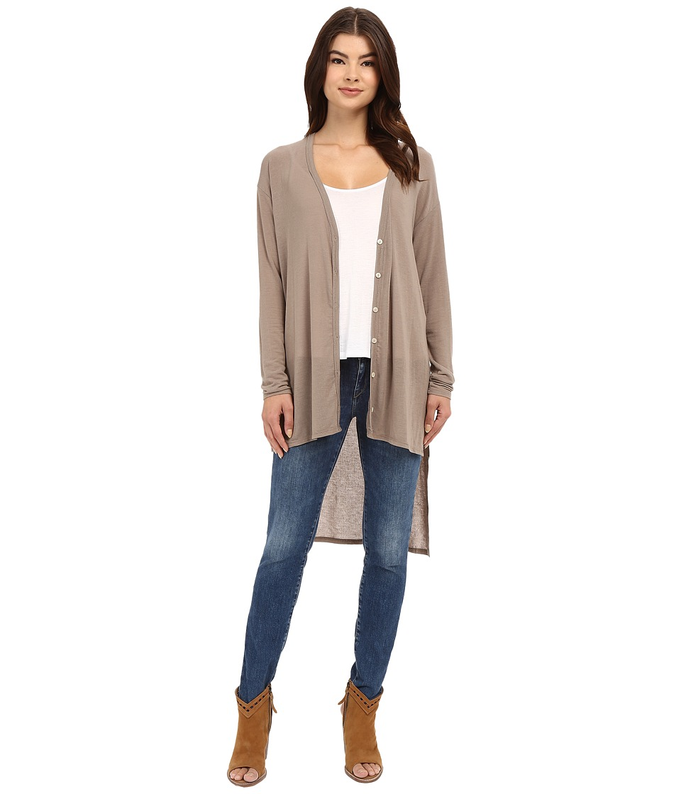 Culture Phit - Alycia V-Neck Button Down Sweater (Taupe) Women's Sweater