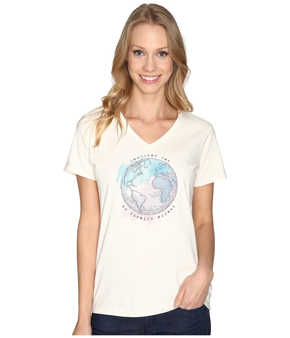 Life is good - Laughter Globe Crusher Vee (Simply Ivory) Women's T Shirt