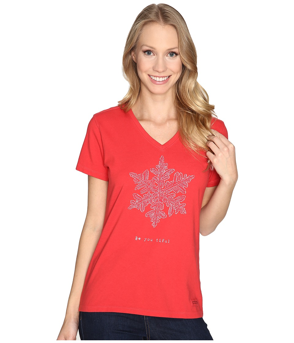 Life is good - Be You Tiful Snowflake Crusher Vee (Simply Red) Women's T Shirt